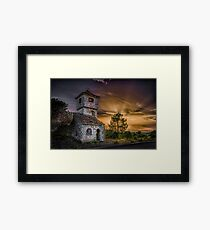 Haunted house at dusk Framed Print