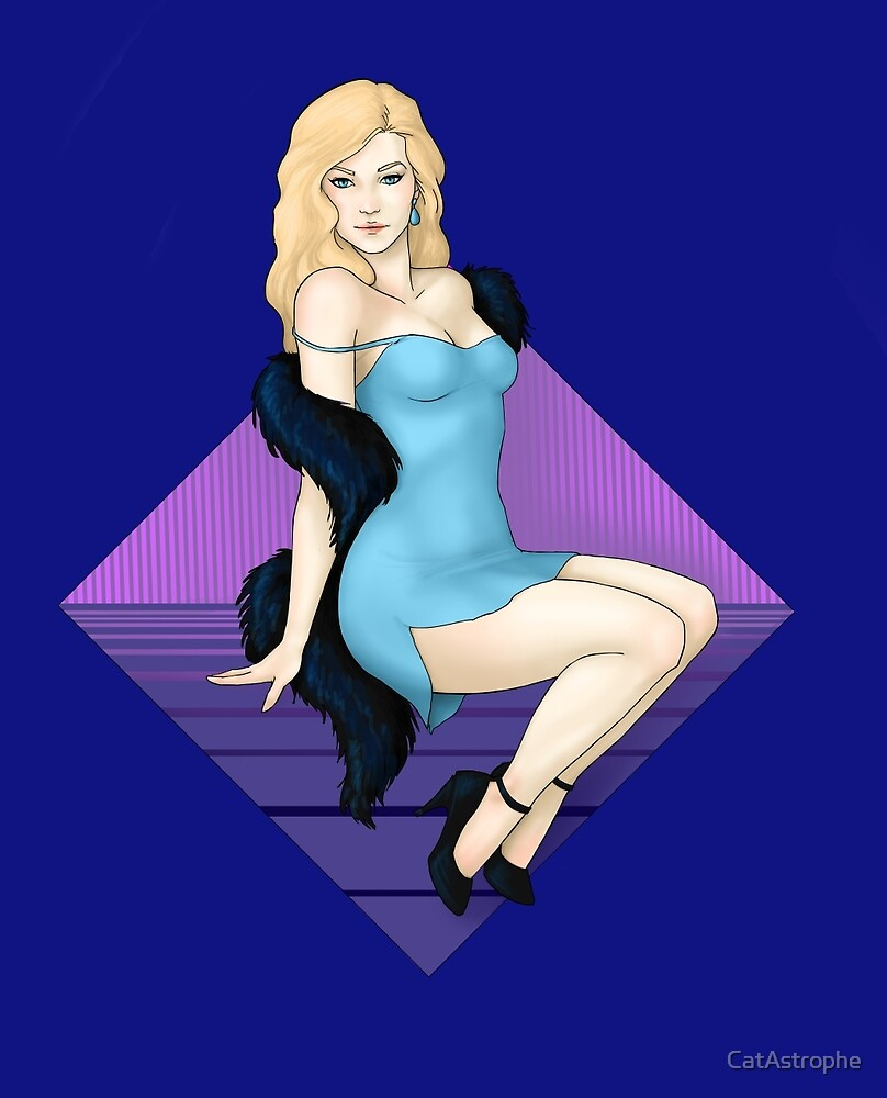 Pinup Girl In Blue Slip by CatAstrophe