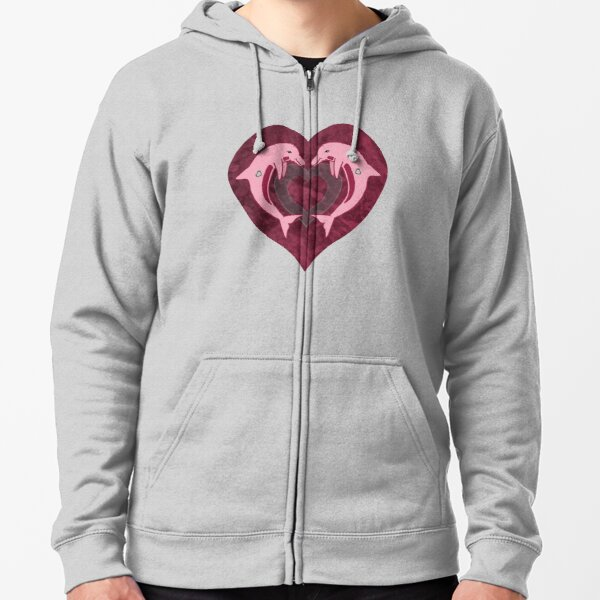 Dolphin Heart Zipped Hoodie