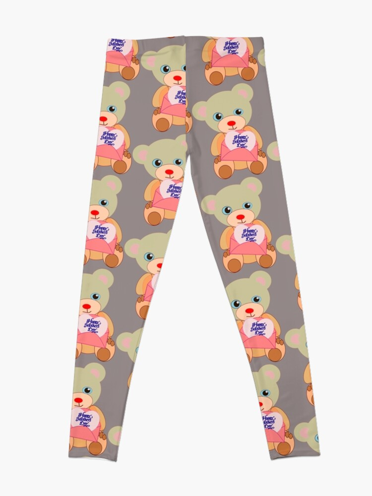 Alternate view of Teddy with mother's day message  Leggings