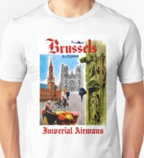 """""""IMPERIAL AIRWAYS"""" Fly to Brussels Print T-Shirt"""