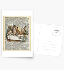 Postales Alicia en el país de las maravillas, Tea Time Vintage Illustration, Dictionary Art