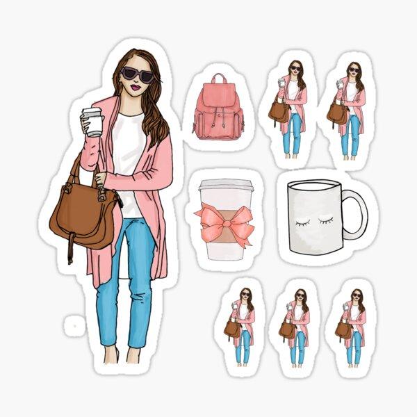 Coffee  Girl Fashion Sticker Pack Sticker