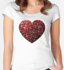 Beautiful Glamour Red Glitter sparkles Heart on white Women's Fitted Scoop T-Shirt
