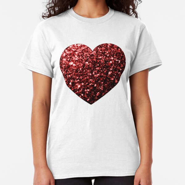 Beautiful Glamour Red Glitter sparkles Heart on white Classic T-Shirt