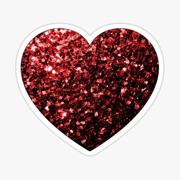 Beautiful Glamour Red Glitter sparkles Heart on white Sticker