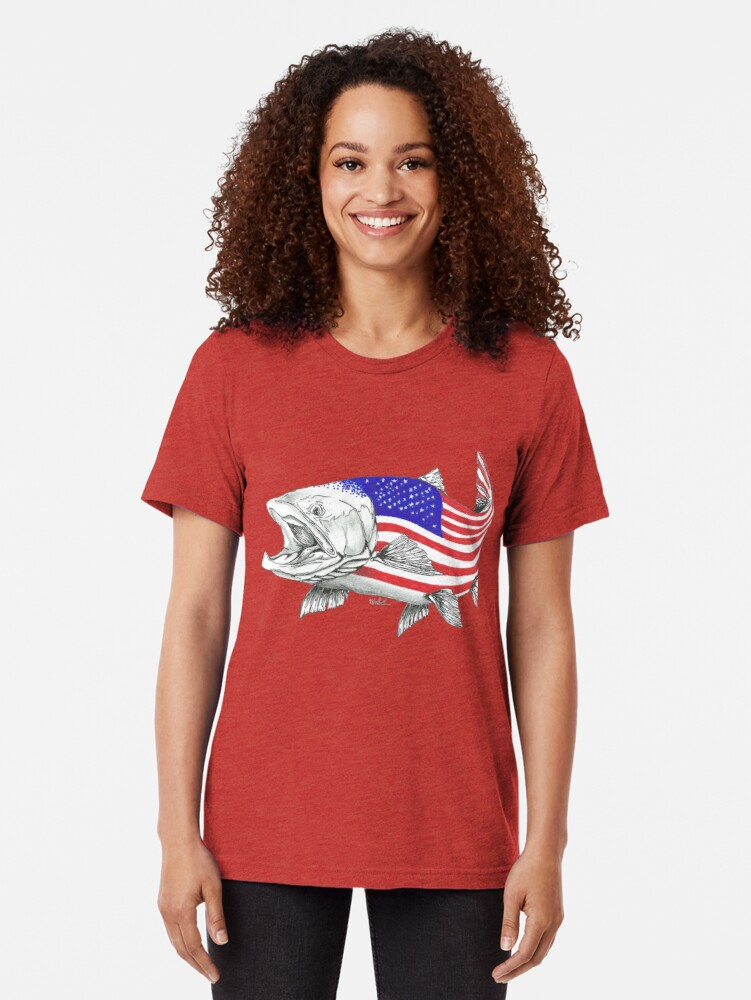 Vista alternativa de Camiseta de tejido mixto American Steel Head Salmon