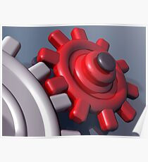 Brightly colored interlocking gears Poster