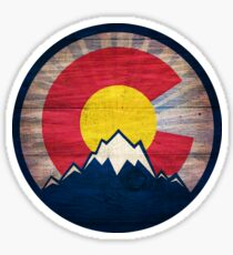 Colorado flag vintage wood mountains Sticker