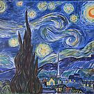 Starry Night, art by Van Gogh. Acrylic painting, reproducton by naturematters