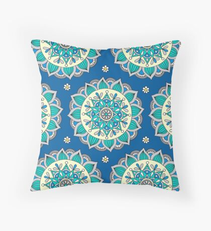 Blue & Cream Mandala  Throw Pillow