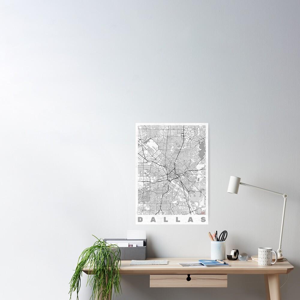 Dallas Map Line Poster