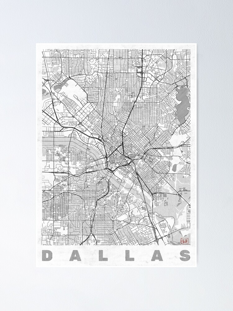 Alternate view of Dallas Map Line Poster
