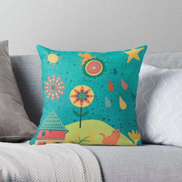 Folksy Art Scene Throw Pillow