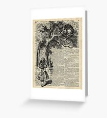 Alice With Cheshire Cat,Alice In Wonderland,Vintage Dictionary Art Greeting Card