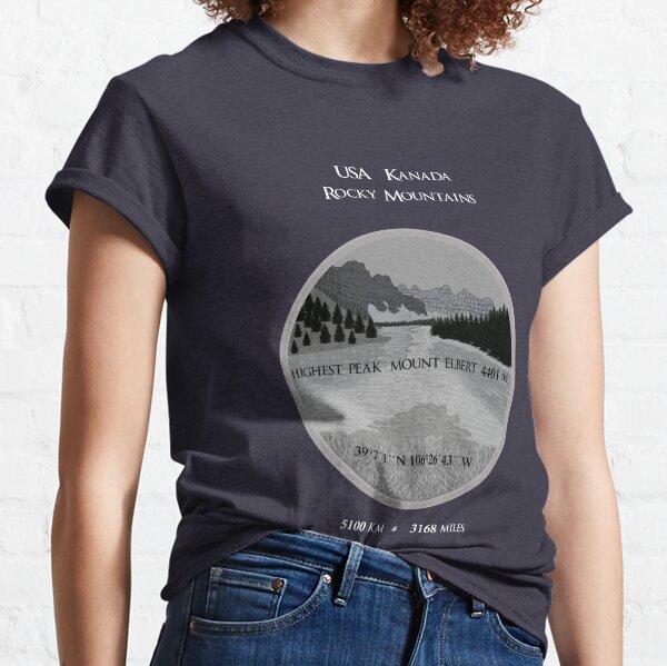 Rocky Mountains USA Canada, mountain landscape, coordinates Classic T-Shirt