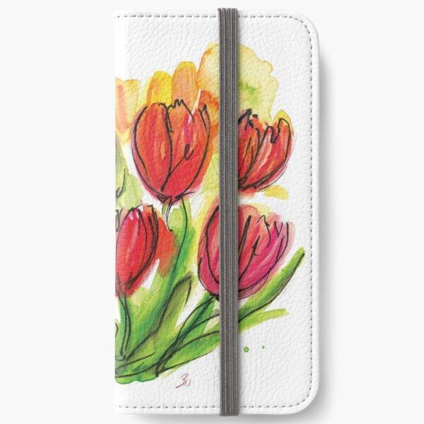 Rote Tulpen Aquarell Zeichnung – Skizze Frühlingsblumen Sommer iPhone Flip-Case