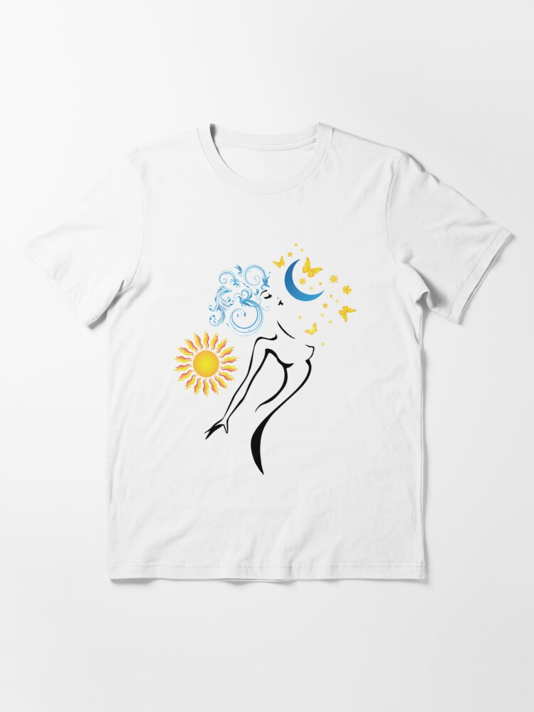 Alternate view of Beautiful Woman with sun and moon and Butterfly and flower Essential T-Shirt
