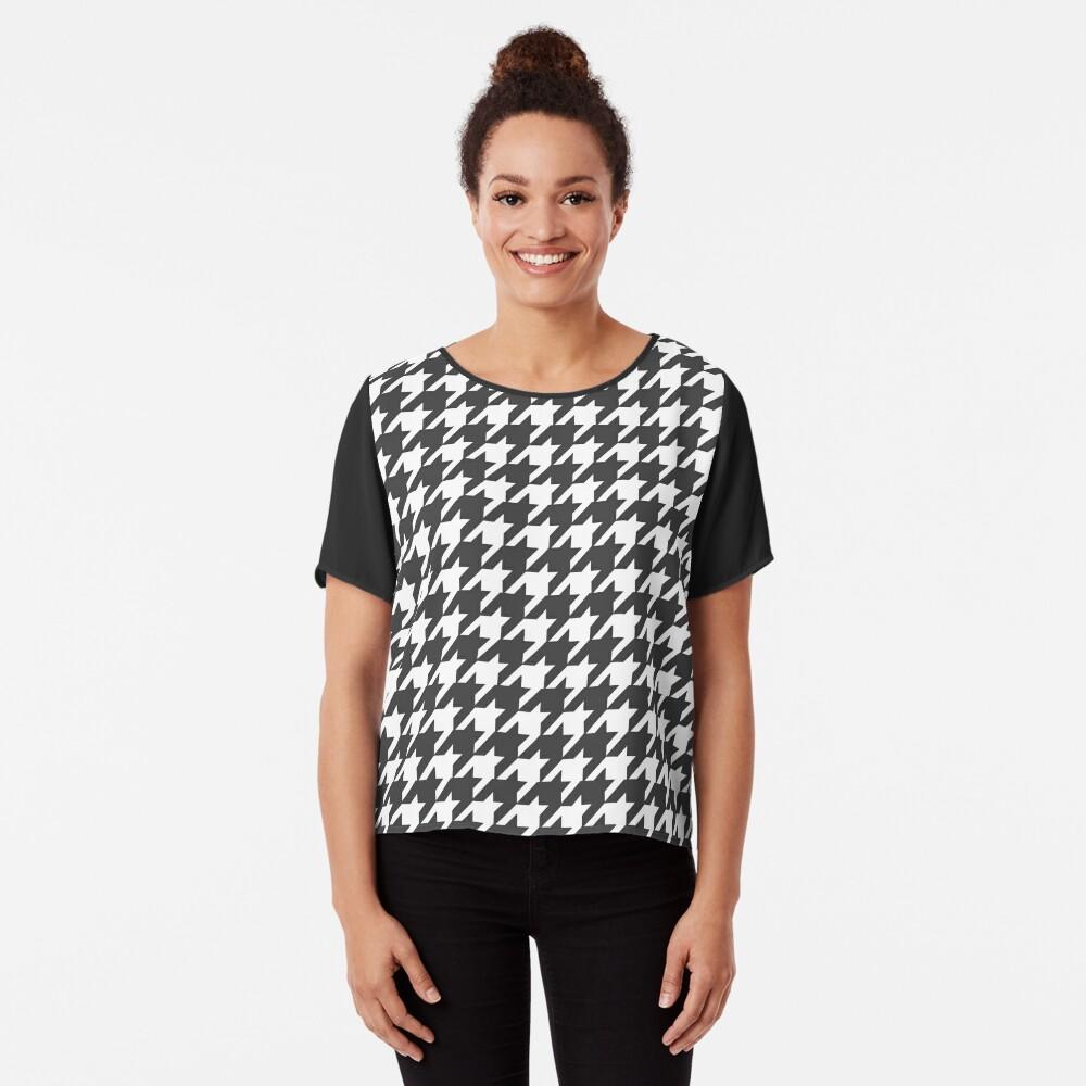 Houndstooth Pattern Chiffon Top