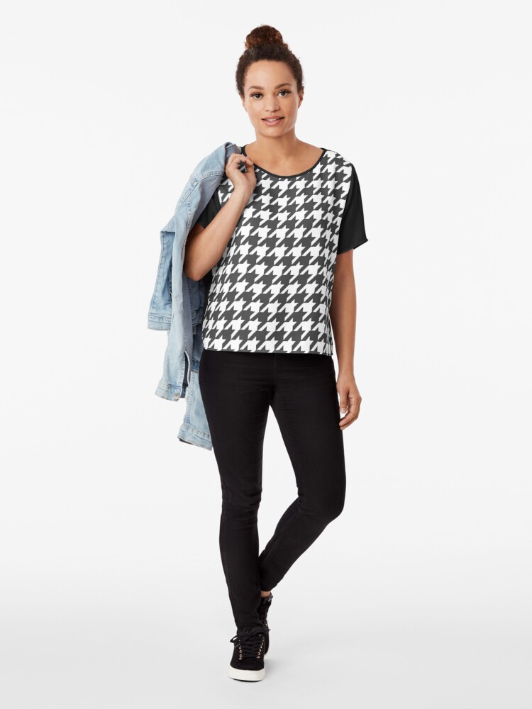 Alternate view of Houndstooth Pattern Chiffon Top