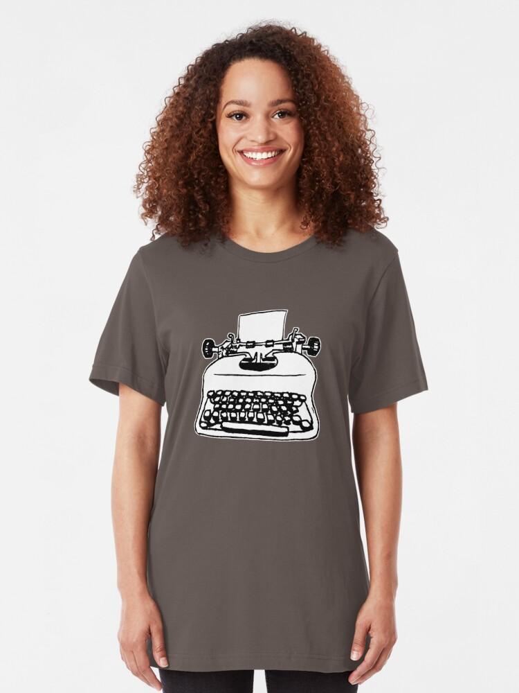 Alternate view of Old Typewriter Slim Fit T-Shirt