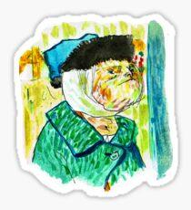 Sloth-portrait with a Bandaged Ear Sticker
