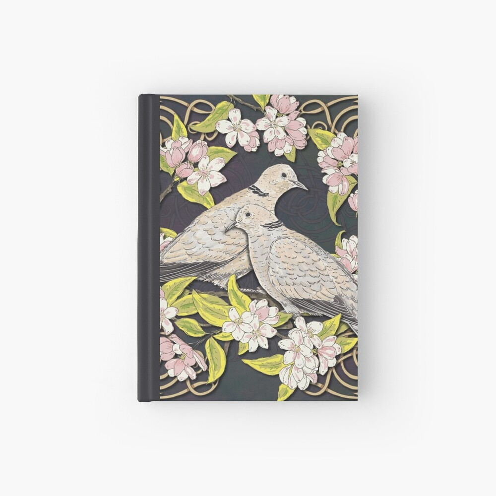 Celtic Collared Doves in Blossom Hardcover Journal
