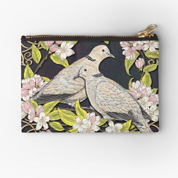 Celtic Collared Doves in Blossom Zipper Pouch