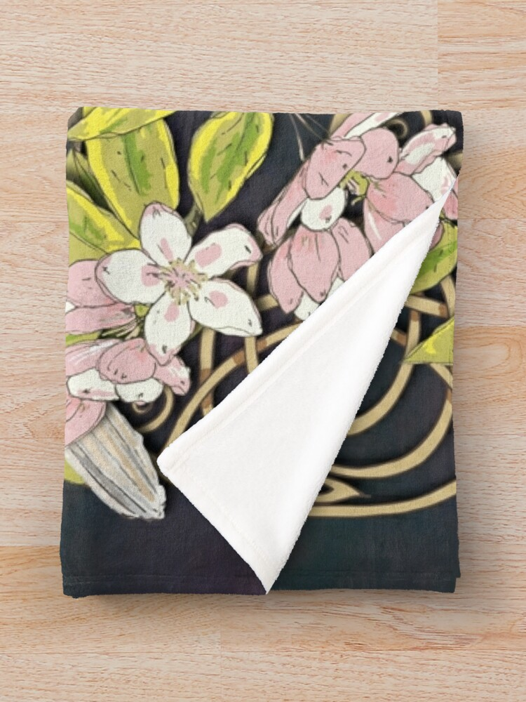 Alternate view of Celtic Collared Doves in Blossom Throw Blanket