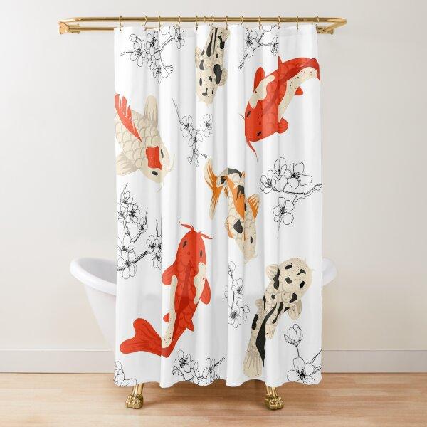 Koi Fish Pattern Japanese Shower Curtain
