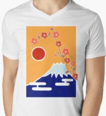 Mount Fuji in Spring Men's V-Neck T-Shirt