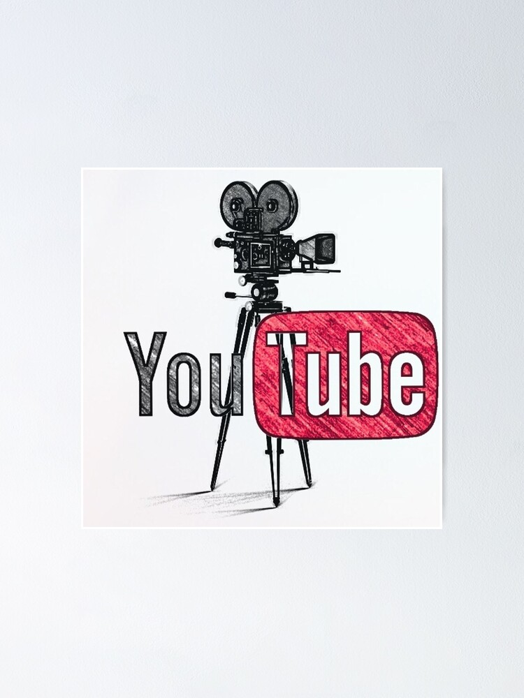 Poster Youtube Avec Le Dessin De La Vieille Camera Par Thegreenreader Redbubble