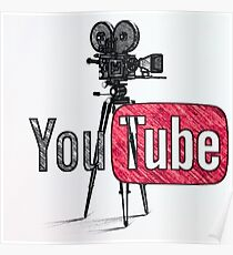 Youtube With Old Camera Drawing Poster