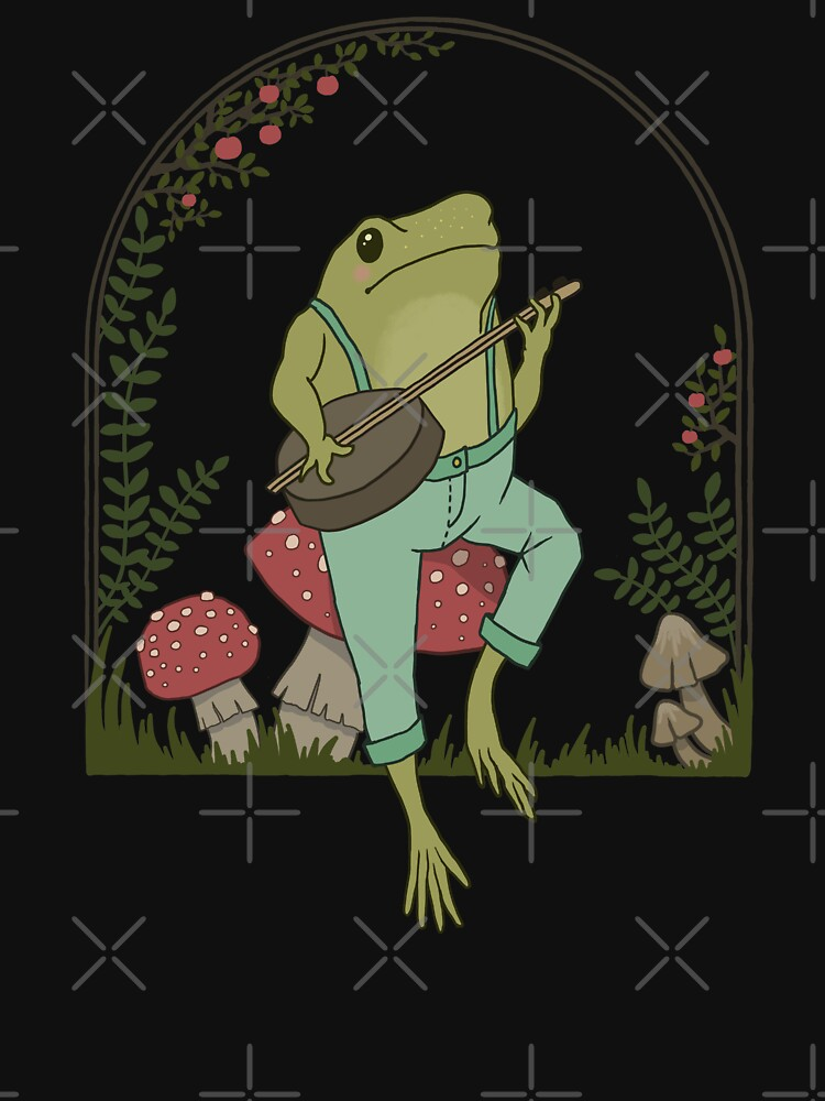 Cottagecore Aesthetic Frog Playing Banjo on Mushroom Cute Vintage by MinistryOfFrogs