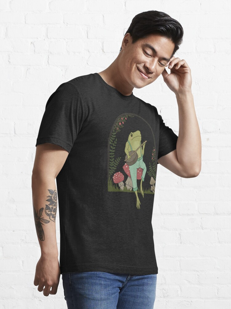 Alternate view of Cottagecore Aesthetic Frog Playing Banjo on Mushroom Cute Vintage Essential T-Shirt