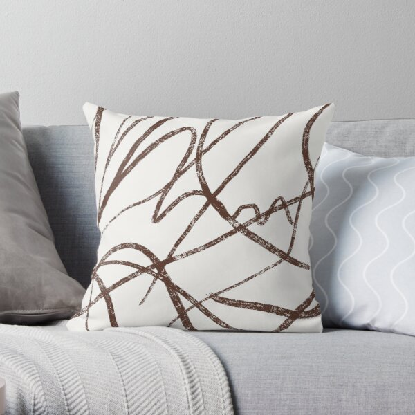 Abstract Brown Lines Throw Pillow