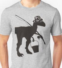 Funny fly fishing dinosaur Slim Fit T-Shirt