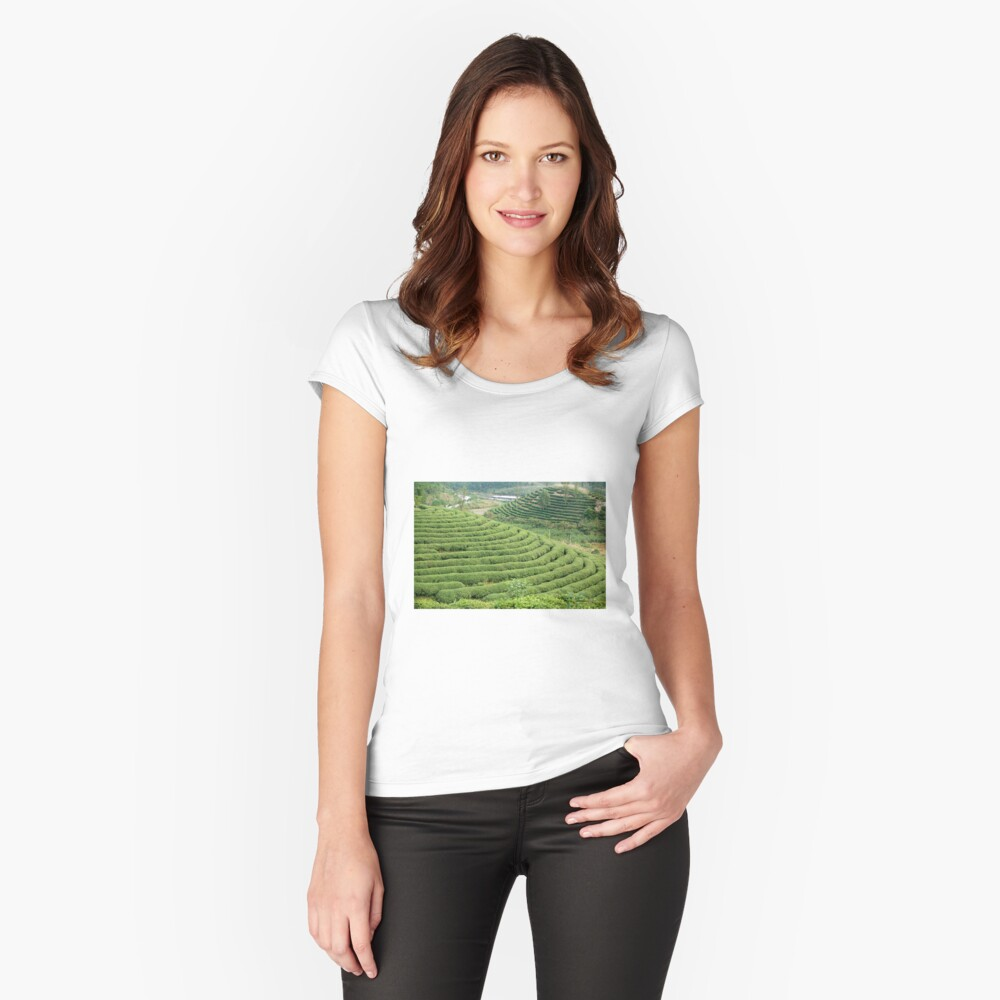 Chinese Green Tea Plantation Women's Fitted Scoop T-Shirt Front