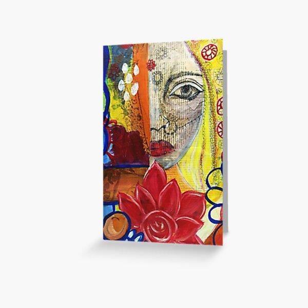 Die verborgene Frau im Farbenrausch  Grußkarte