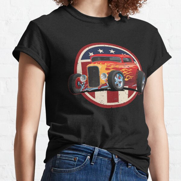 Vintage American 32 Hot Rod Coupe Car Illustration Classic T-Shirt