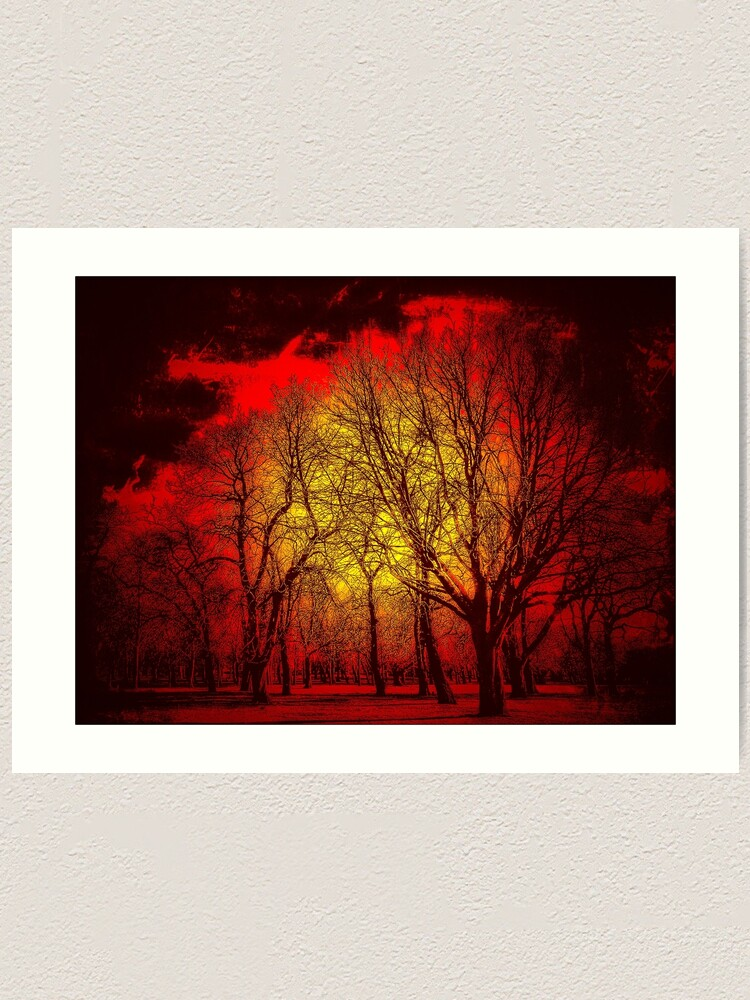 Alternate view of Red Forrest Art Print