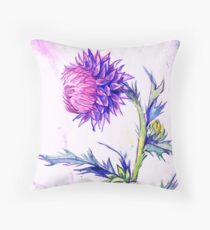 Thistle- Watercolor Throw Pillow