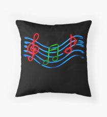 Music Neon Sign Throw Pillow