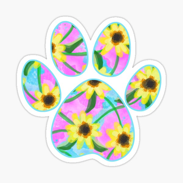 Dog Paw Watercolor Sunflowers Sticker