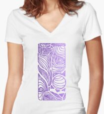 Linear Flow - Purple Fade Women's Fitted V-Neck T-Shirt