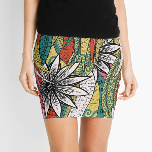 Red & Yellow Boho Floral Fantasy Pattern Mini Skirt