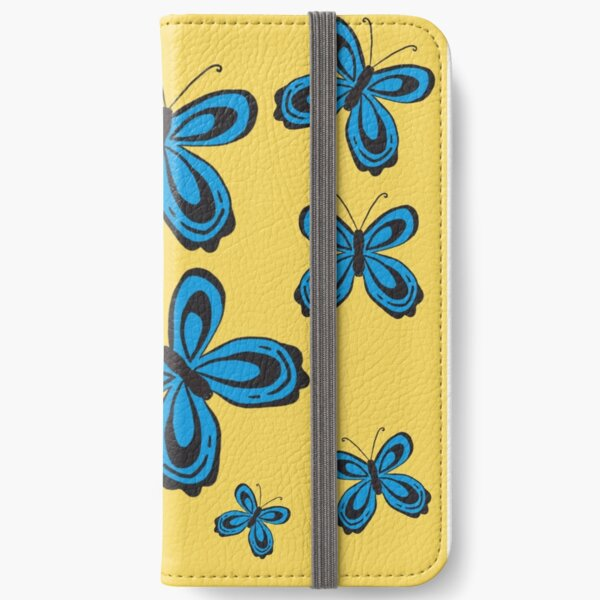 Folkart Butterfly Simple - Yellow and Blue iPhone Wallet