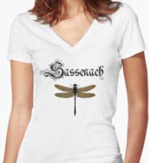 Camiseta entallada de cuello en V inglés