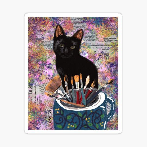 Picatsso, black cat, collage Sticker