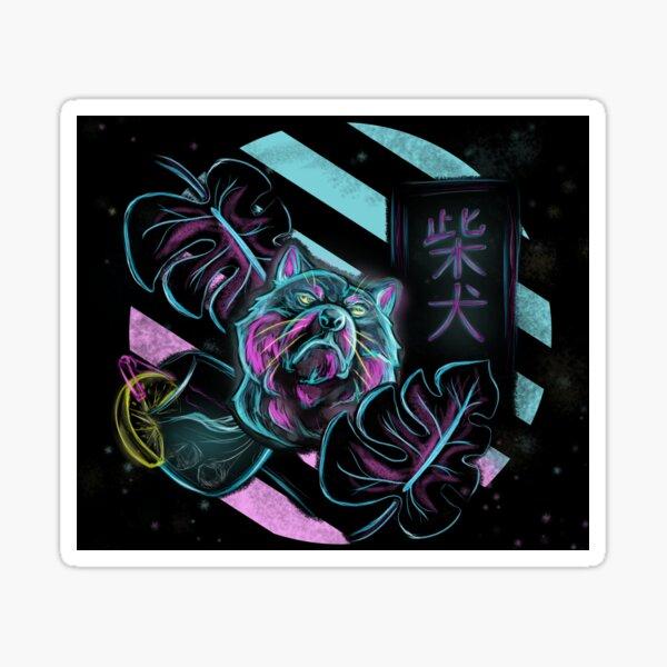 Shiba Inu Neon Beach Style Sticker